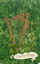 ERIN GO BRAGH  in panel base of card, harp faces right