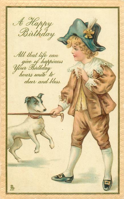 A HAPPY BIRTHDAY boy with terrier - TuckDB Postcards