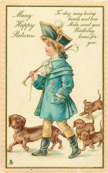 MANY HAPPY RETURNS  boy with dachshunds