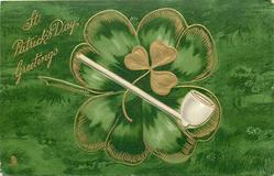 ST. PATRICK'S DAY GREETINGS shamrock & 4 leaved clover, pipe