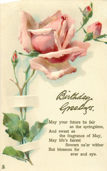 BIRTHDAY GREETINGS  pink rose & buds