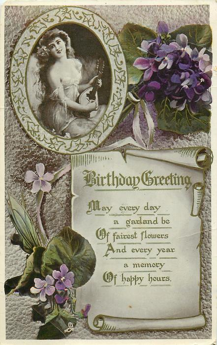 BIRTHDAY GREETING violets, girl in inset