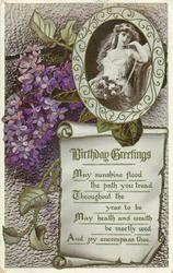 BIRTHDAY GREETINGS  lilac, girl in inset