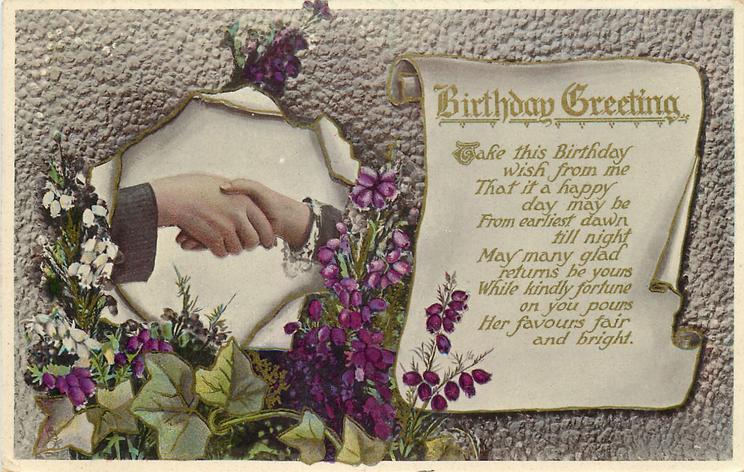 BIRTHDAY GREETING  clasped hands, heather