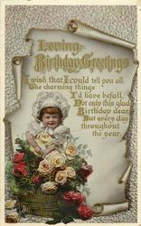 LOVING BIRTHDAY GREETINGS  child below scroll, roses