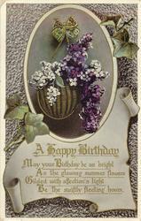 A HAPPY BIRTHDAY  purple lilac