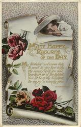 MANY HAPPY RETURNS OF THE DAY  child above scroll, roses below