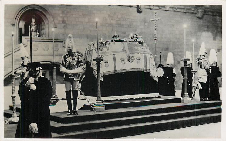 THE LYING IN STATE OF KING GEORGE V IN WESTMINSTER HALL... IN LIFE  close-up