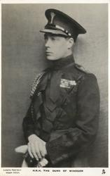 H.R.H. THE DUKE OF WINDSOR or HIS MAJESTY KING EDWARD VIII  uniformed study, hands clasped in front facing left