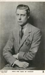 H.R.H. THE DUKE OF WINDSOR or HIS MAJESTY KING EDWARD VIII  seated study, arms crossed in lap