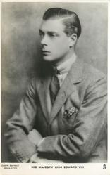H.R.H. THE DUKE OF WINDSOR or HIS MAJESTY KING EDWARD VIII  half legth seated study, arms crossed in lap, looking half left