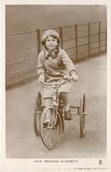 H.R.H. PRINCESS ELIZABETH  riding three wheeler