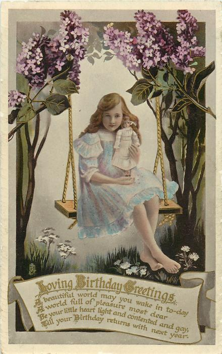 LOVING BIRTHDAY GREETINGS  girl sitting on swing with doll, lilac