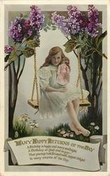 MANY HAPPY RETURNS OF THE DAY  girl sitting on swing with doll, lilac