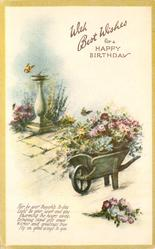 WITH BEST WISHES FOR A HAPPY BIRTHDAY wheelbarrow full of flowers, sun-dial