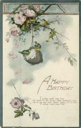 A HAPPY BIRTHDAY blue-tits on coconut beneath roses