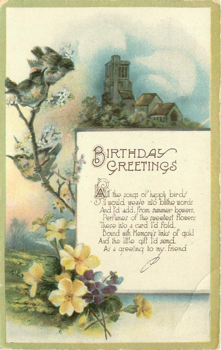 BIRTHDAY GREETINGS birds, flowers & church