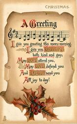A  GREETING   music & verse on weathered scroll paper, holly