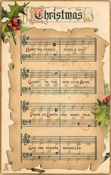 CHRISTMAS  HARK!  music notation, holly