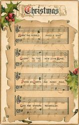 CHRISTMAS  HARK!  music notation, holly