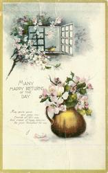 MANY HAPPY RETURNS OF THE DAY dog-roses around window & in golden jug, bird in cottage window