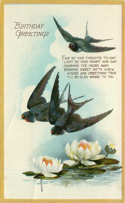 BIRTHDAY GREETINGS water lilies below three swallows