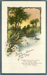 MANY HAPPY RETURNS OF THE DAY kingfishers, blossom below lake scene
