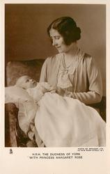 H.R.H. THE DUCHESS OF YORK WITH PRINCESS MARGARET ROSE  who is in her lap