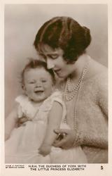 H.R.H. THE DUCHESS OF YORK WITH THE LITTLE PRINCESS ELIZABETH  on her lap, duchess looking down
