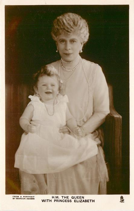 H.M. THE QUEEN WITH PRINCESS ELIZABETH  sitting on queen's lap both looking front
