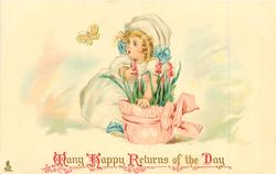 MANY HAPPY RETURNS OF THE DAY  girl in white, behind pot of flowers, looking at yellow butterfly