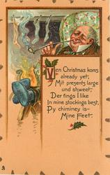 VEN CHRISTMAS KOMS ALREADY YET, MIT PRESENTS LARGE UND SHWEET,   man  with his feet up smokes pipe