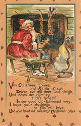 VEN CHRISTMAS KOMS UND SANTA CLAUS DRIVES OUT MIT DEER UND SLEIGH santa sits at fireside