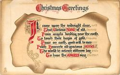 CHRISTMAS GREETINGS verse on weathered scroll