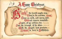 A HAPPY CHRISTMAS  HARK! verse on weathered scroll