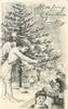 WITH LOVING CHRISTMAS GREETINGS  angel decorates Xmas tree, children below
