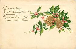 HEARTY CHRISTMAS GREETINGS  bells & holly