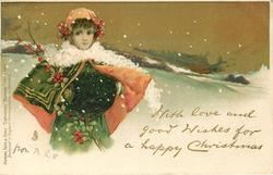 WITH LOVE AND GOOD WISHES FOR A HAPPY CHRISTMAS  girl in red lined cape & white scarf, snow scene