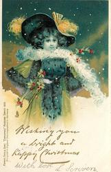 WISHING YOU A BRIGHT AND HAPPY CHRISTMAS  girl in blue with white scarf, snow scene