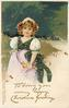 TO BRING YOU MANY HAPPY CHRISTMAS GREETINGS  girl in lavender/blue/white outfit, flowers in apron, water right
