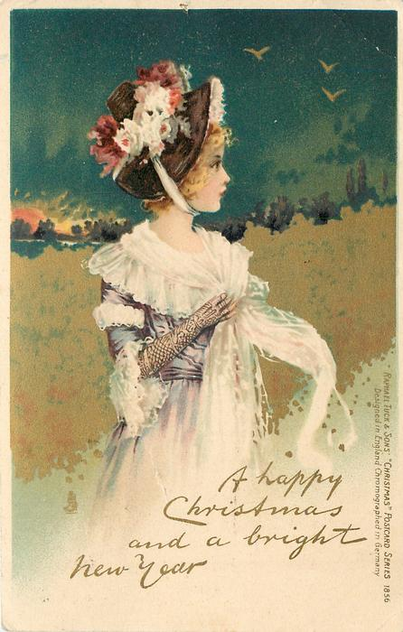 A HAPPY CHRISTMAS AND A BRIGHT NEW YEAR girl in purple dress, white trimmings and floral hat looks right  same image BIRTHDAY 1856