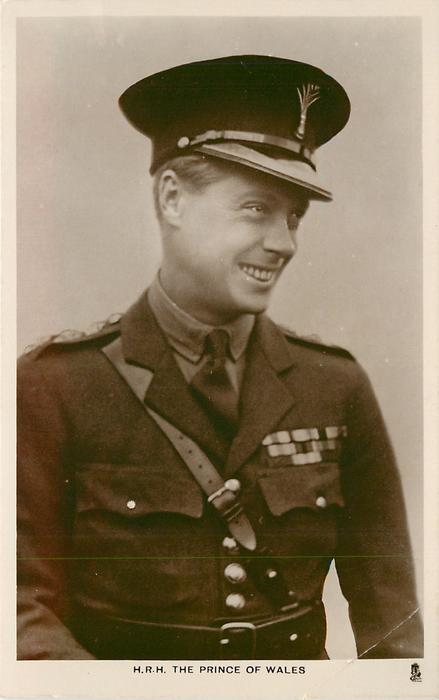 H.R.H. THE PRINCE OF WALES  above belt study, in uniform, looking right
