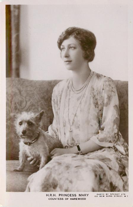 H.R.H. PRINCESS ROYAL or PRINCESS MARY COUNTES OF HAREWOOD  with terrier