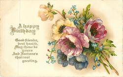 A HAPPY BIRTHDAY anemones & forget-me-nots