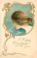 A HAPPY CHRISTMAS TO YOU  head in blue inset looking left