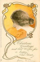 CHRISTMAS GREETINGS AND BEST WISHES FOR A HAPPY NEW YEAR   head in orange/yellow inset looking left