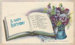 A HAPPY BIRTHDAY  book, vase of pansies