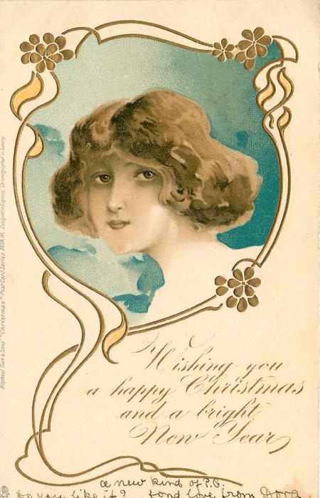 WISHING YOU A HAPPY CHRISTMAS AND A BRIGHT NEW YEAR  head in blue inset looking left/front