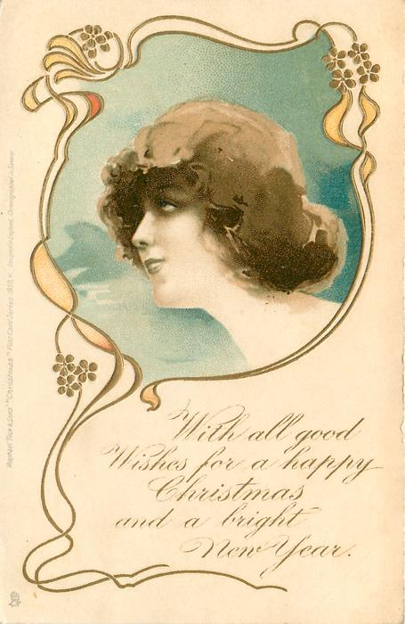 WITH ALL GOOD WISHES FOR A HAPPY CHRISTMAS AND A BRIGHT NEW YEAR  head in blue inset looking left