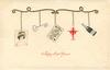 A HAPPY NEW YEAR  tiny insets of lady, key, playing card, devil, champagne bottle all hanging in a line from gold support, cream background